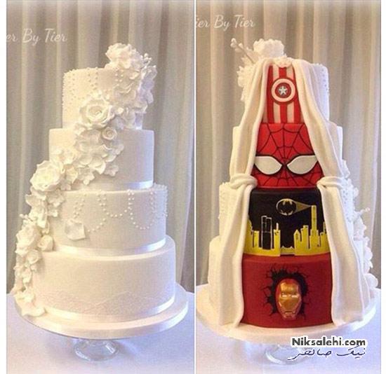 کیک عروسی جالب زوجی که در شکل کیک به تفاهم نرسیدند