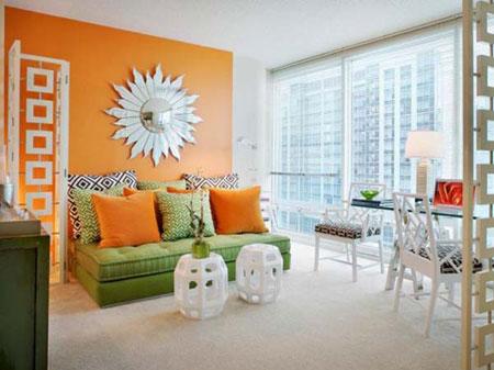 دکوراسیون زیبای پذیرایی با رنگ نارنجی  تصاویر