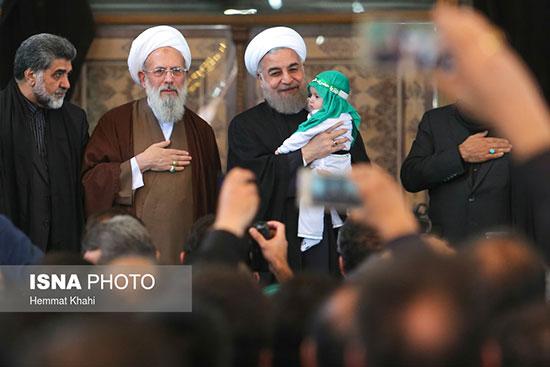 حضور حسن روحانی در مراسم عزاداری روز عاشورا+تصاویر