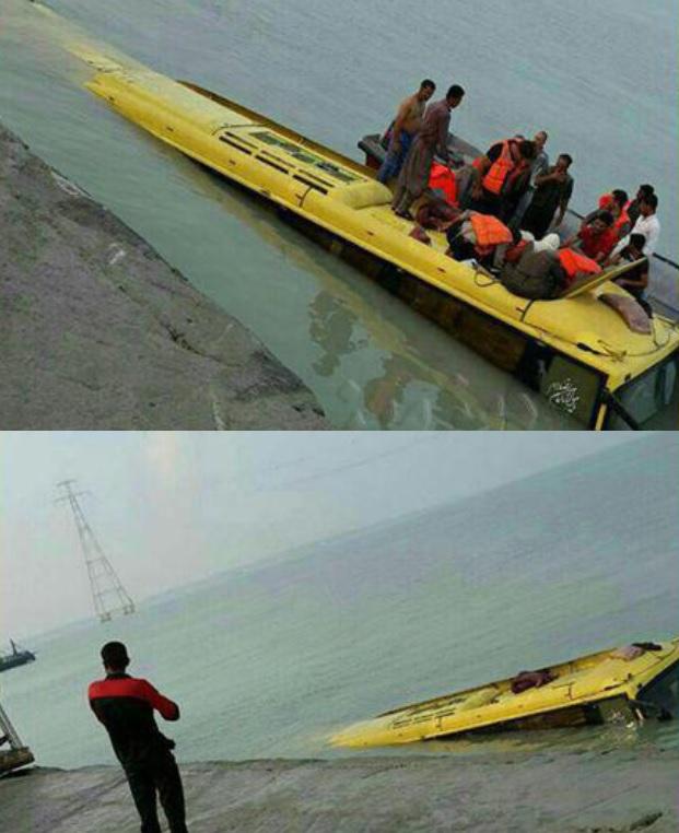 جزئیات سقوط اتوبوس مسافربری به دریای قشم + تصاویر