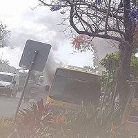 در اقدامی هولناک مرد روانی راننده اتوبوس را آتش زد +تصاویر