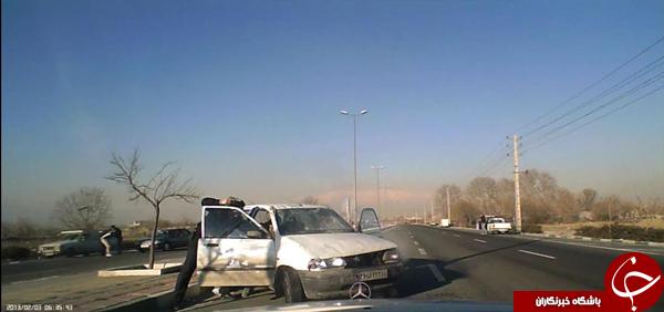 سارقان حرفهای تهران حین فرار از دست پلیس دچار حادثه شدند + تصاویر