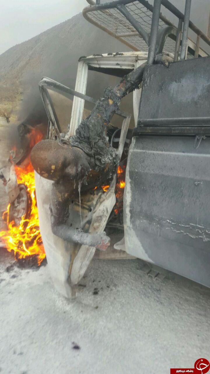 راننده ای که در آتش تصادف زنده زنده سوخت + تصاویر (۱۸+)