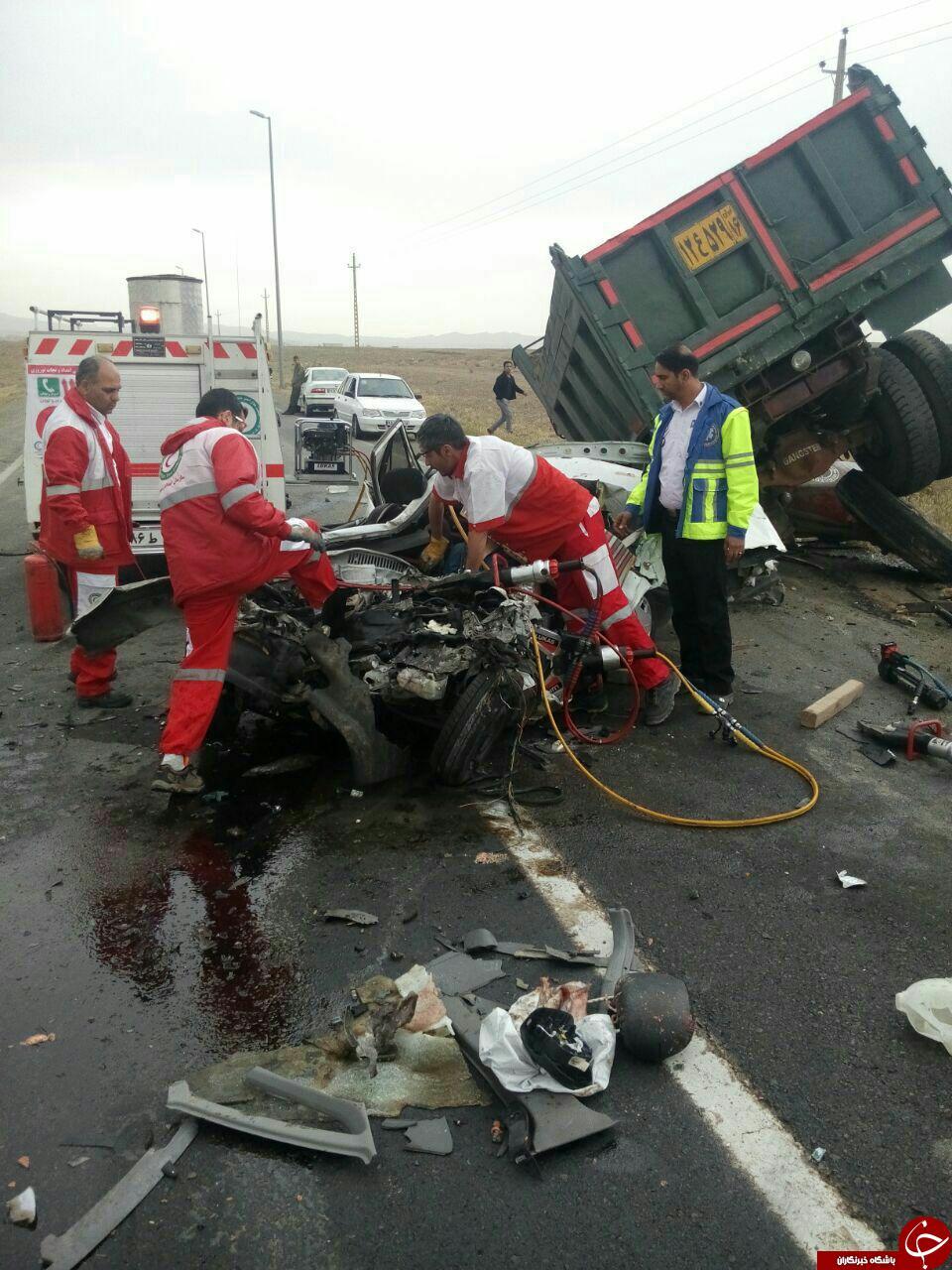 در یک تصادف وحشتناک پراید له شد! + تصاویر