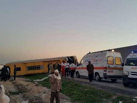 واژگونی اتوبوس زائران کربلا در جاده اهواز + تصاویر