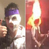 گیتاریست معروف در کنسرت زنده آتش گرفت! + تصاویر لحظه حادثه