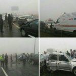 تصادف زنجیره ای 130 خودرو در آزادراه شهید شوشتری مشهد +تصاویر وحشتناک