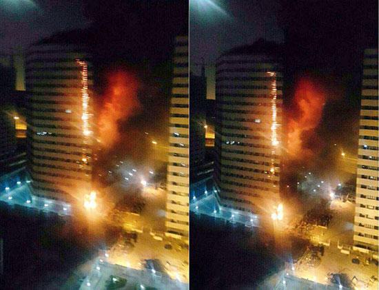 آتش سوزی برج مسکونی در چیتگر