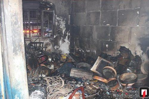 آتش سوزی در مغازه رنگ فروشی