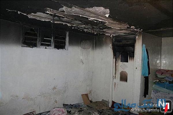 آتش سوزی خیابان خاوران و نجات معجزه آسای دختربچه ۳ ساله +تصاویر