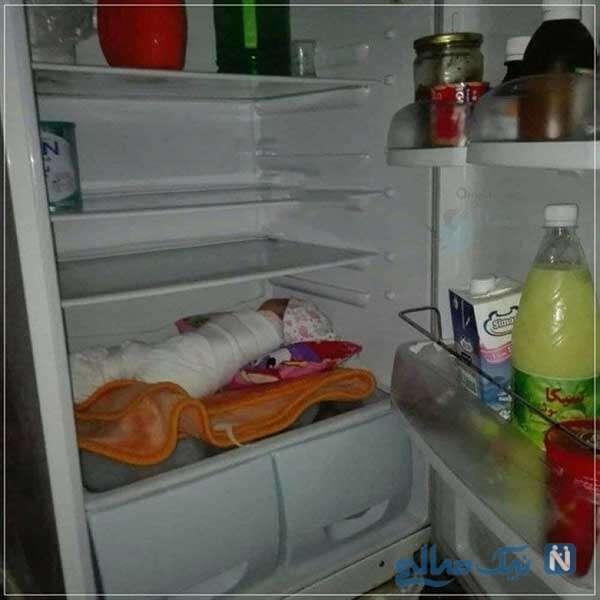 نوزاد در یخچال