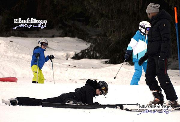 اسکی بازی دختران مدونا در سوئیس + عکس