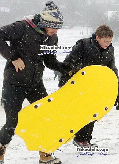 برف بازی دیوید بکهام و پسرانش +عکس