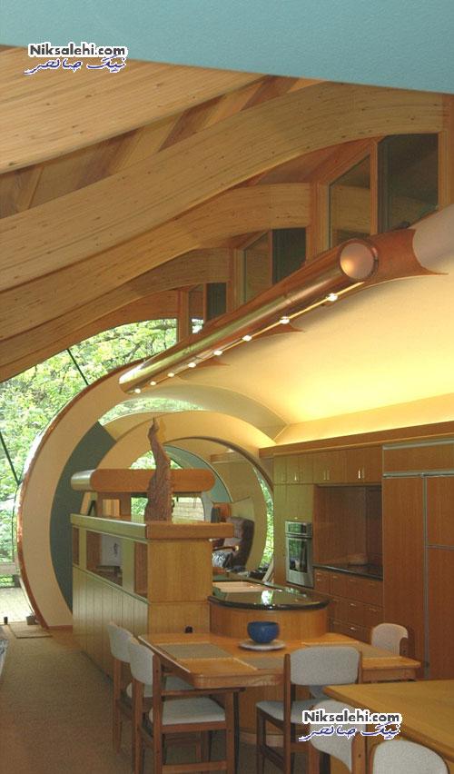 تصاویر زیبایی از معماری جالب خانه ای زیر سایه جنگل +عکس