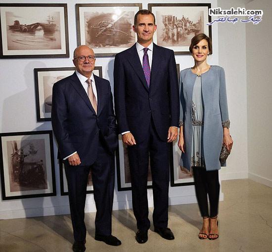 تیپ ملکه اسپانیا و همسرش هنگام بازدید از شهر باستانی +عکس