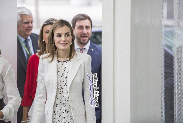 تیپ سفید ملکه اسپانیا در همایش تحقیقات سرطانی در بارسلونا +عکس