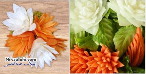 آموزش تزئین هویج به شکل یک گل زیبا +عکس