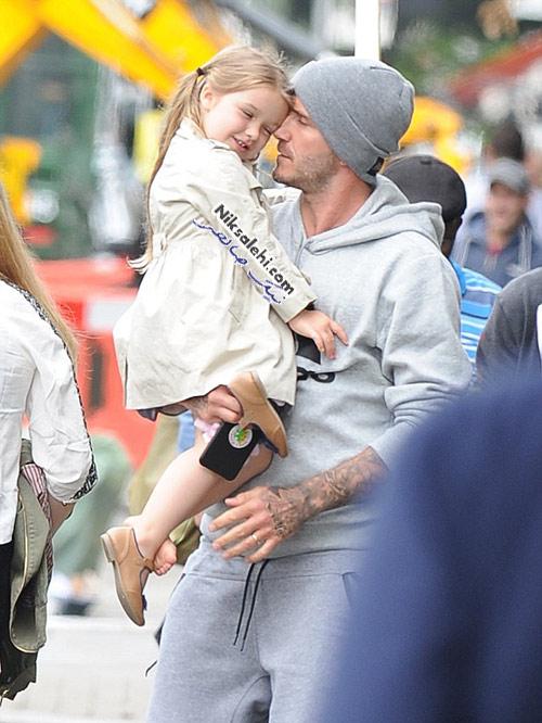 دیوید بکهام پس از صرف ناهار به همراه دختر و پسرش +عکس