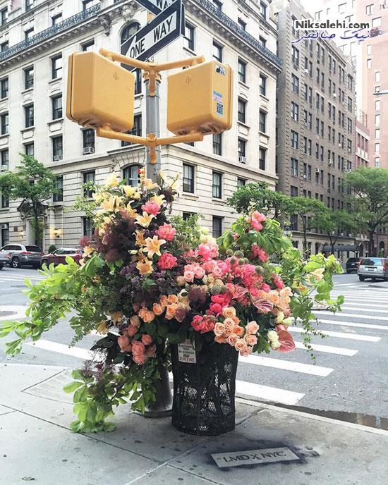گل آرایی سطل های زباله