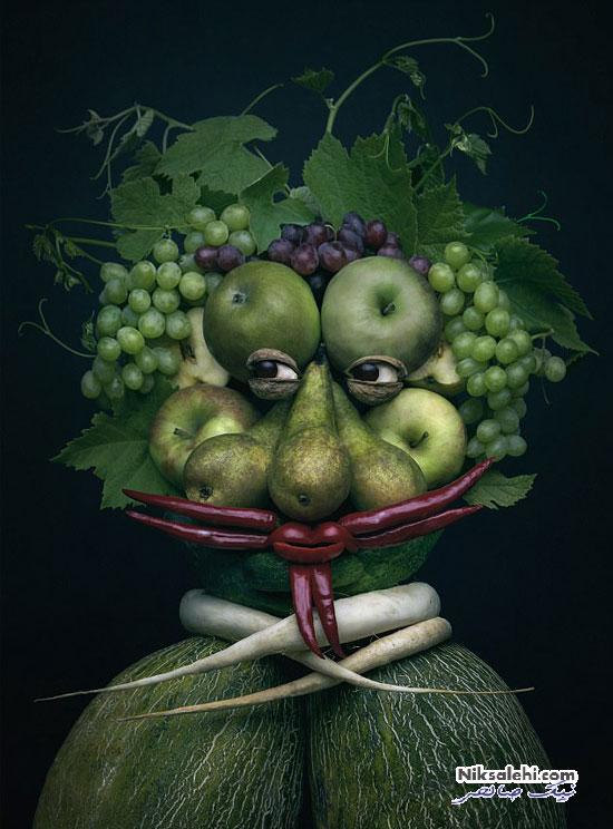 پرتره انسانی با میوه ها و سبزیجات