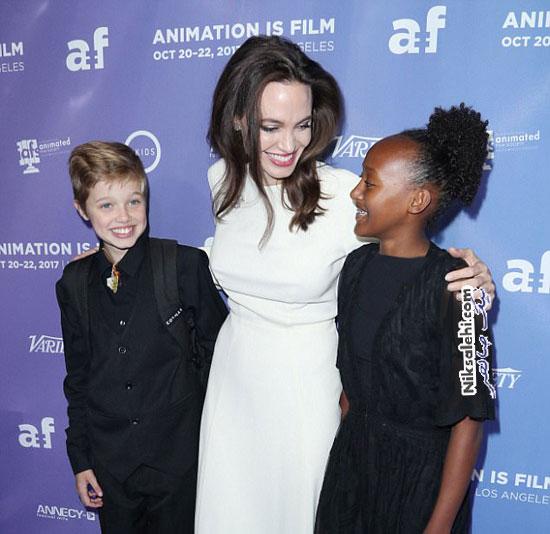 آنجلینا جولی و دخترانش در افتتاحیه فیلم انیمیشنی