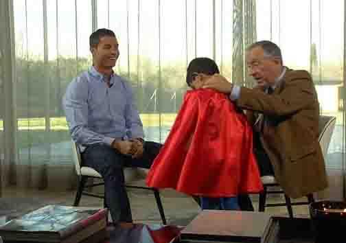 رونالدو و پسرش در یک برنامه تلویزیونی + تصاویر