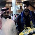 مهدی طارمی و وسلی اسنایدر در مراسم خوشامدگویی باشگاه الغرافه