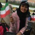 خانم بازیگر لیدر تماشاگران زن در بازی ایران در ورزشگاه آزادی +تصاویر