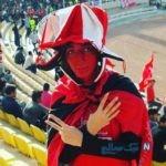 حضور دختر هوادار پرسپولیس در هر سه جشن قهرمانی در استادیوم +تصاویر