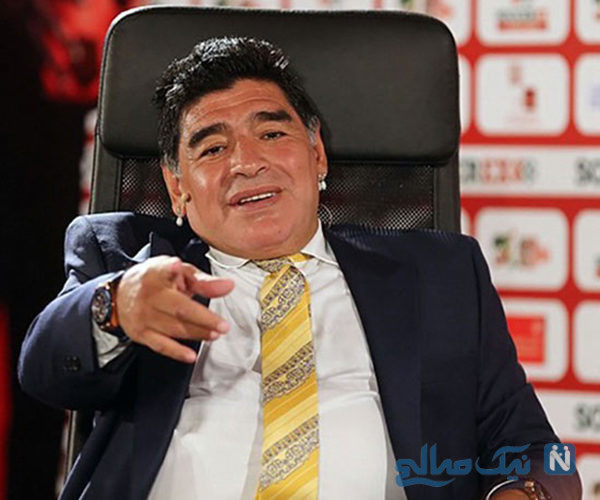 مارادونا اسطوره فوتبال آرژانتین در منزلش میزبان دروسی اسطوره رم +تصاویر
