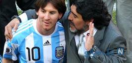 مسی و مارادونا دست در دست هم قابی زیبا به بهانه تقابل بارسا و ناپولی
