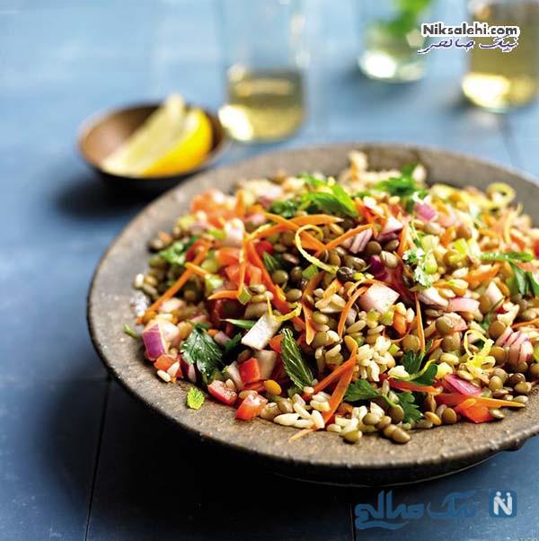 طرز تهیه سالاد برنج خاور میانه ای برای 1 نفر