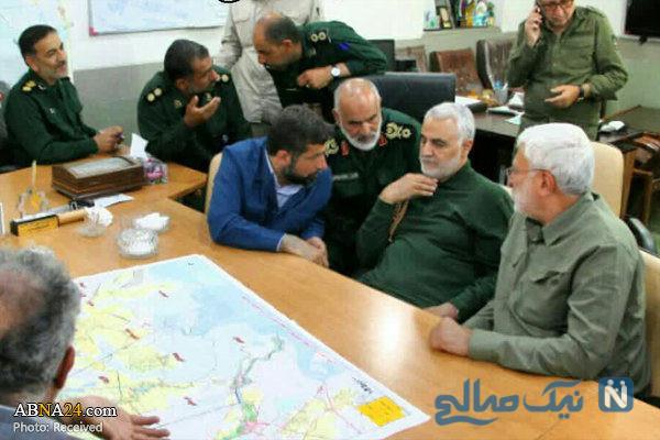 ابومهدی المهندس و سردار سلیمانی در مناطق سیل زده خوزستان