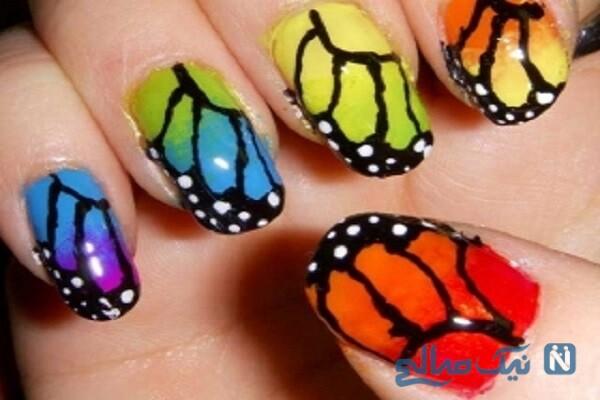 عکسهای جذاب طرح گل و پروانه روی ناخن برای نوروز