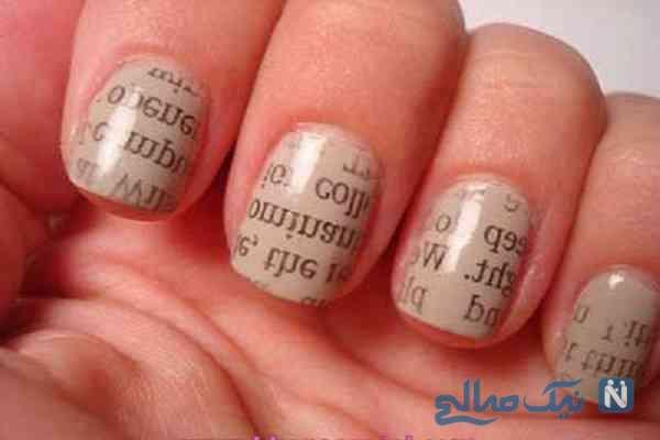 تصاویر : طراحی و چاب روزنامه روی ناخن ها